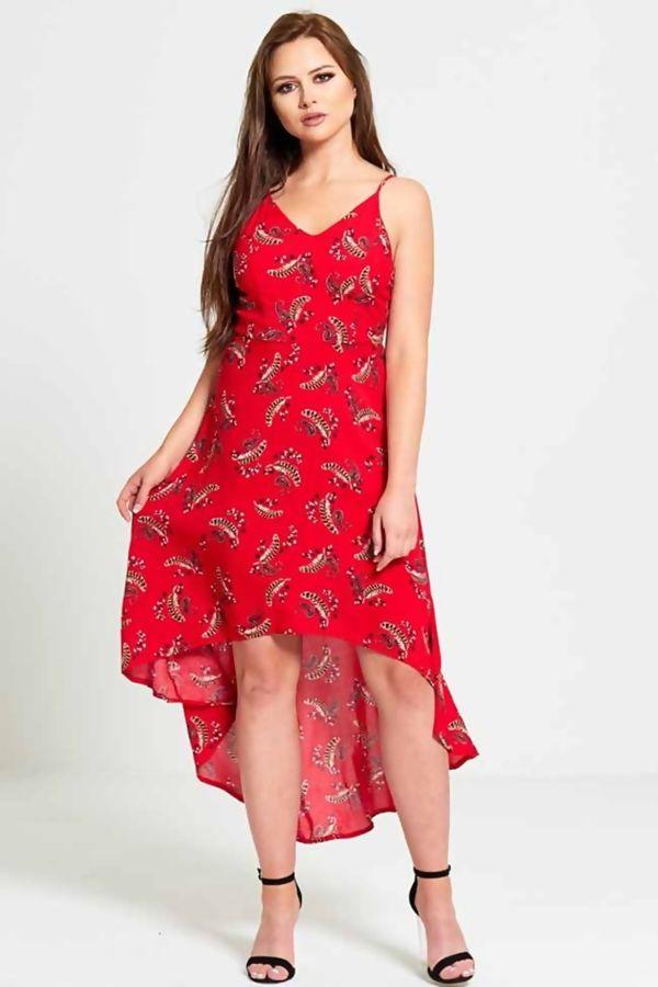 Red Stella Bandana Dip Hem Dress