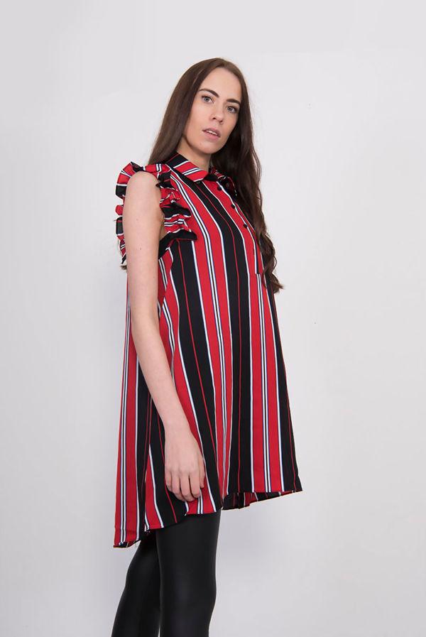 Red Striped Frill Sleeve Dip Hem Shirt Dress