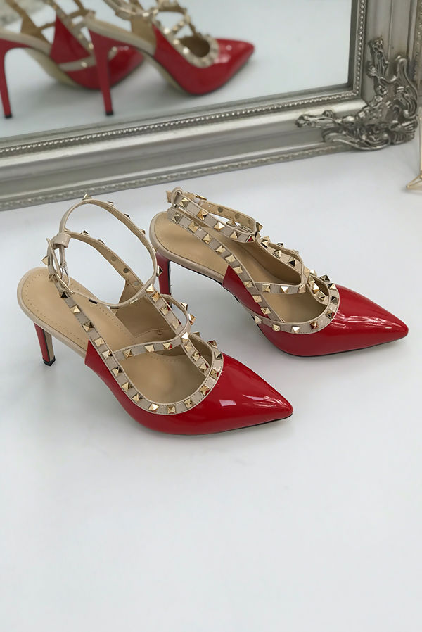 Red Studded Court Heels