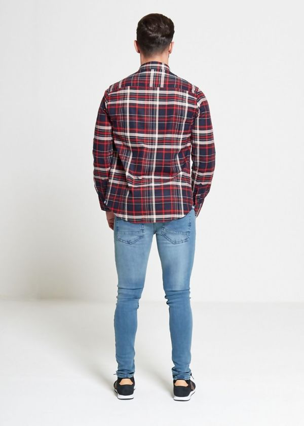Red Tame Checked Button Up Shirt