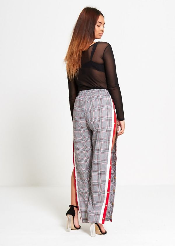Red Tartan Print Stripe Popper Trouser