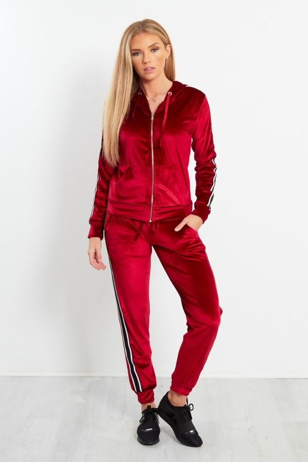 Red Velour Stripped Tracksuit
