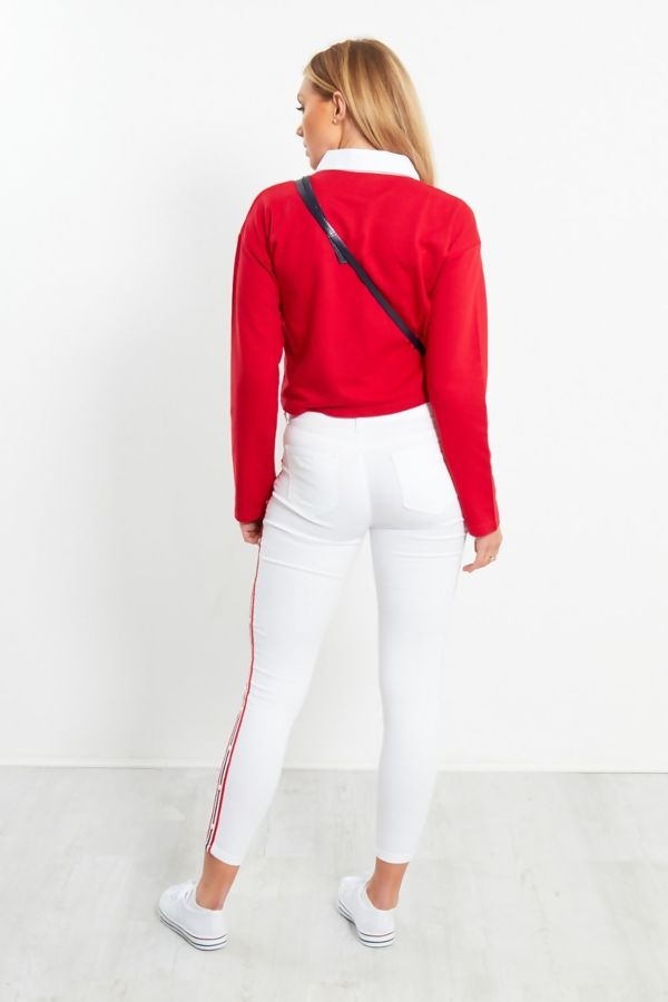 Red White Collar Polo Crop Top