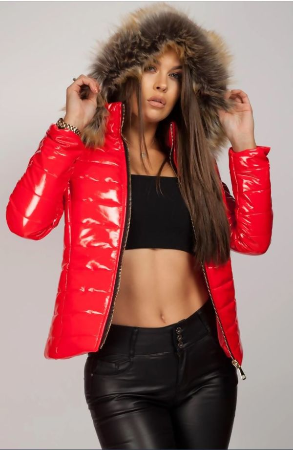 Red with Beige Fur Shinny Hooded Jacket
