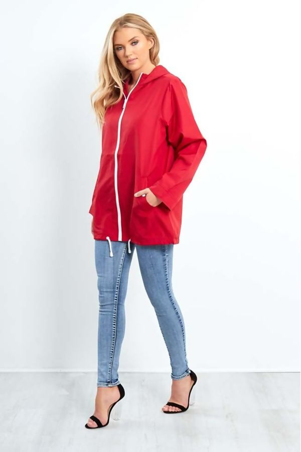 Red Zip Through Cagoule Raincoat