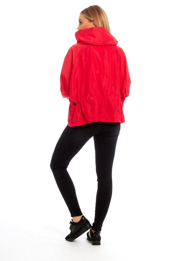 Red Zip Through Crop Cagoule Jacket