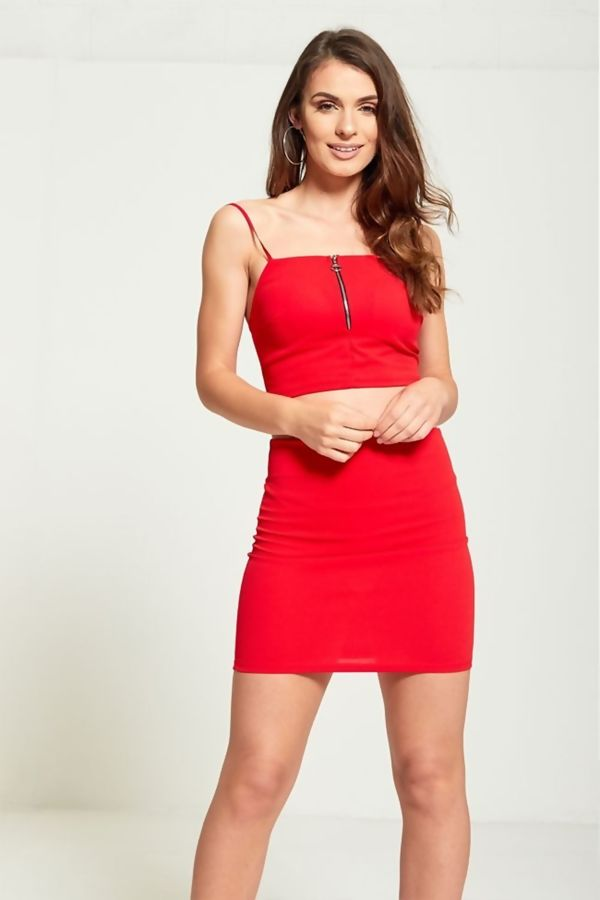 Red Zip Up Crop Top Skirt & Co-Ord Set