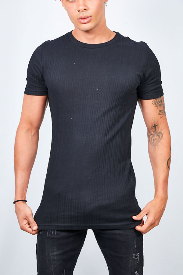 Ribbed Detail Crew Neck T-shirt