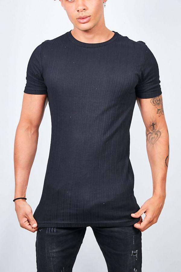 Ribbed Detail Crew Neck T-shirt