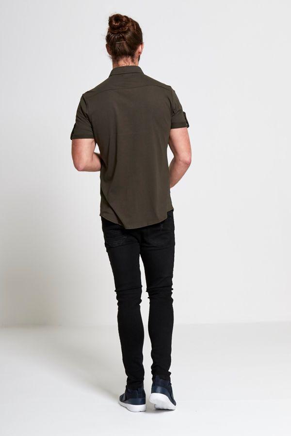 Khaki Squad Zip Through Shirt