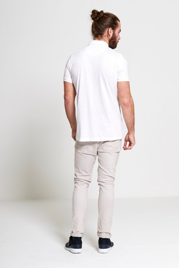 White Pocket Front Polo T-Shirt
