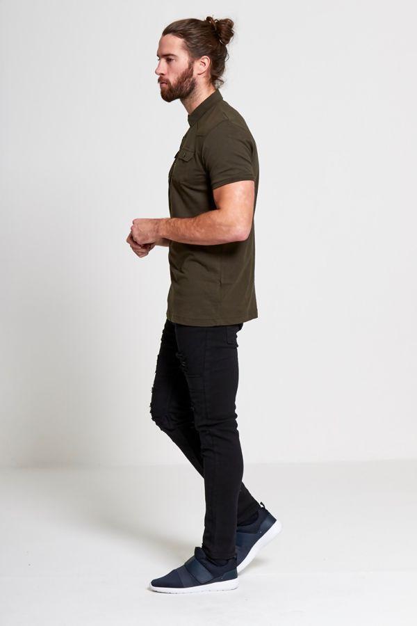 Khaki Pocket Front Polo Shirt