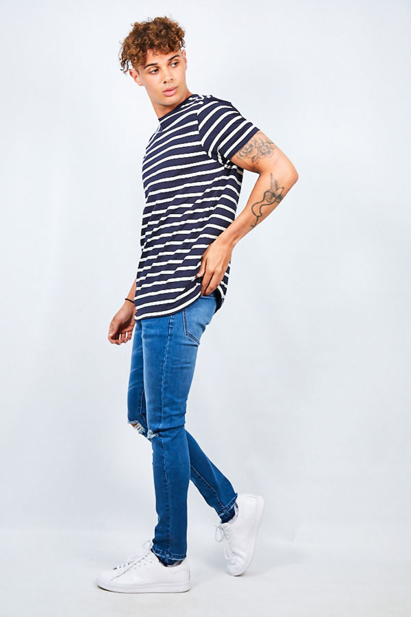 Rolled Detail Striped Crew Neck T-Shirt