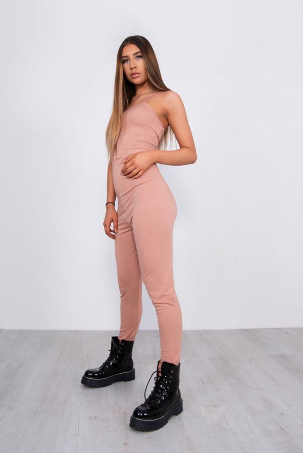 Rose Gold Jersey Cami Scoop Neck Jumpsuit