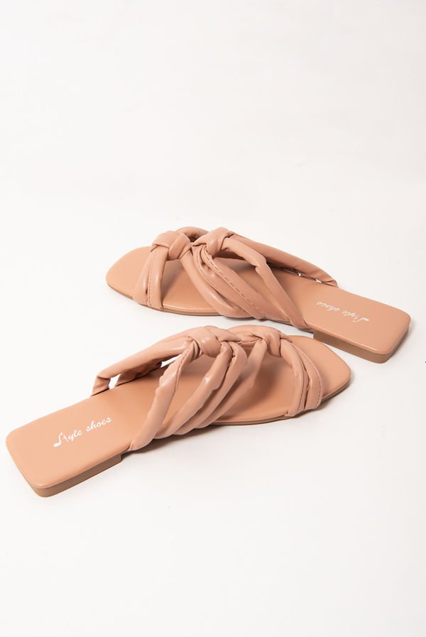 Rose Pink Knotted Square Toe Flat Sandals