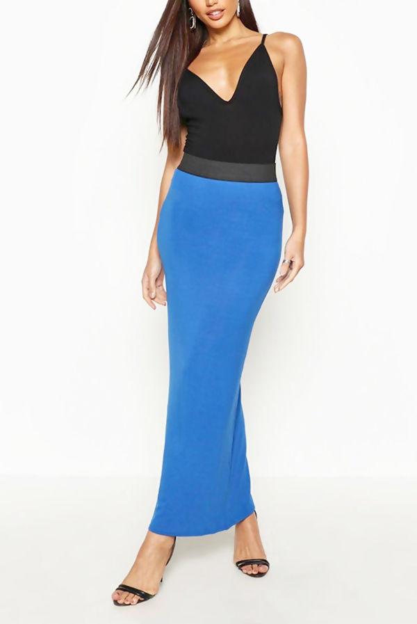 Wine Basic Contrast Waist Jersey Maxi Skirt