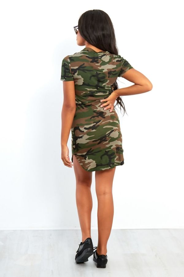 Royal Blue Camouflage 76 Printed Bodycon Dress