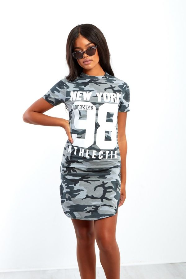 Royal Blue Camouflage 98 Printed Bodycon Dress