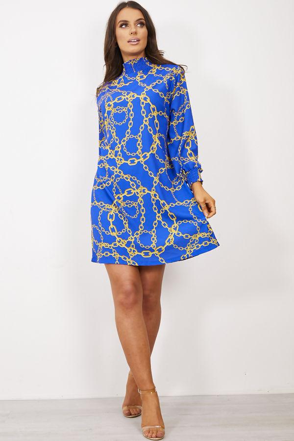 Royal Victorian Collar Printed Dress