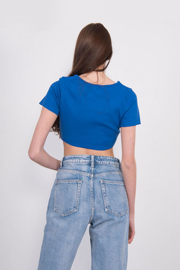 Ruched Front Ribbed Crop Top
