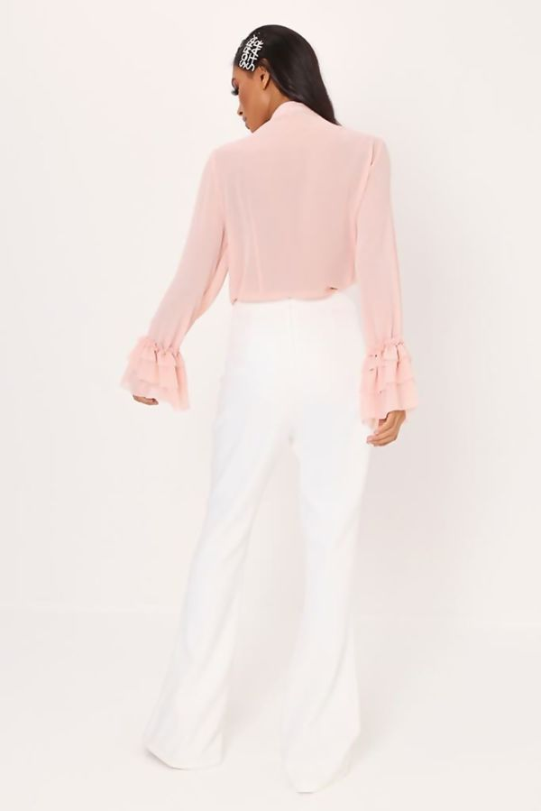Dusty Pink Ruffle Bow Blouse