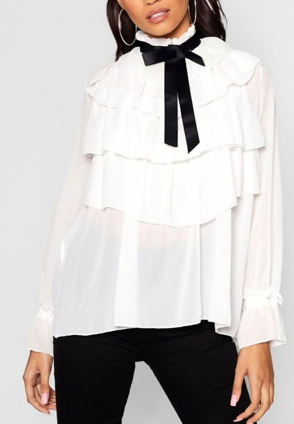 Ruffle Full Sleeve Chiffon Top
