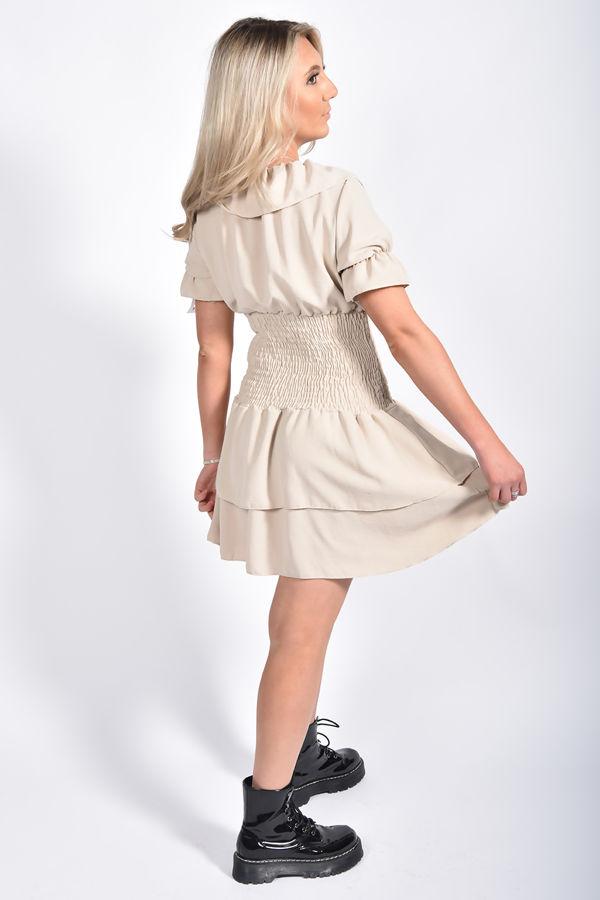 Ruffle Neck Shirred Waist Tiered Dress