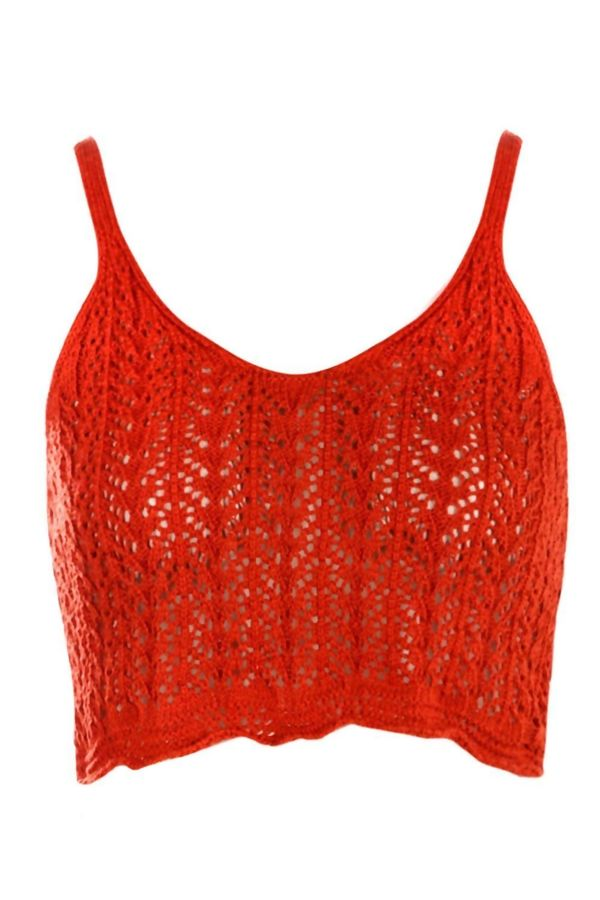 Rust Crochet Knitted Top