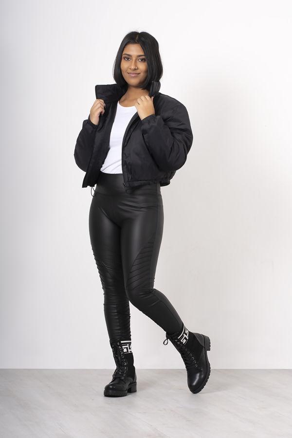 Black Crop Funnel Neck Jacket
