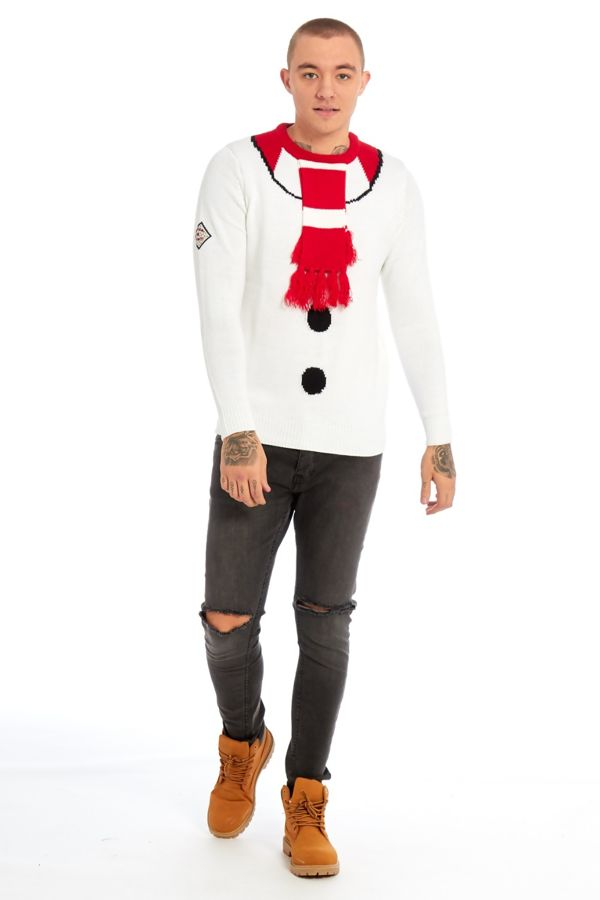 White Snowman With Scarf Christmas Jumper