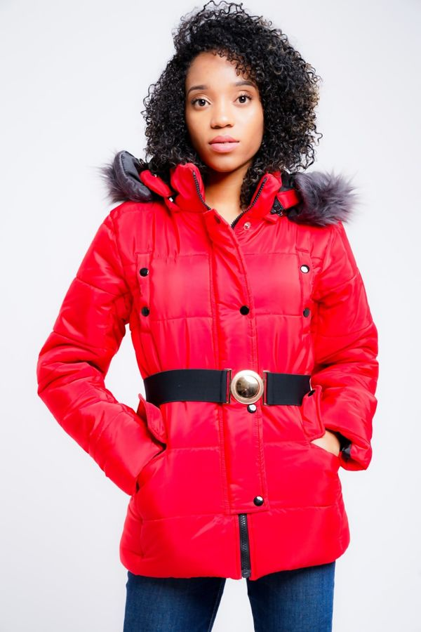 Red Belted Jecket With Detachable Faux Hood