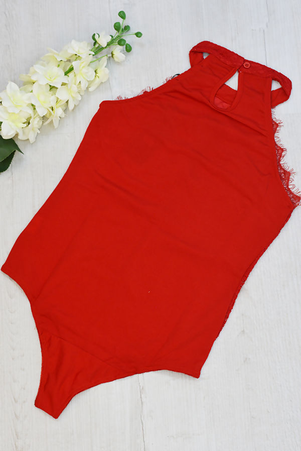 Red High Neck Eyelash Lace Bodysuit