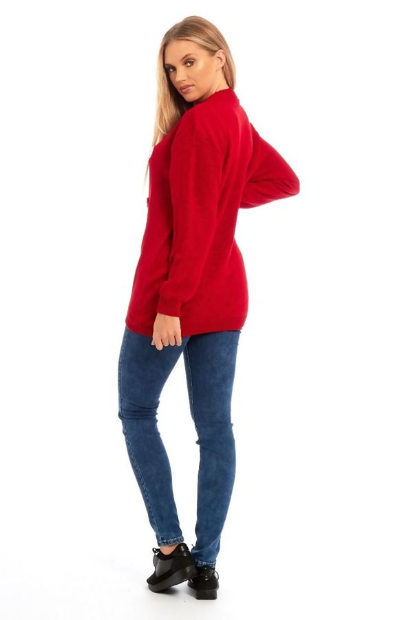 Red Ho Ho Glitter Cap Knitted Christmas Jumper