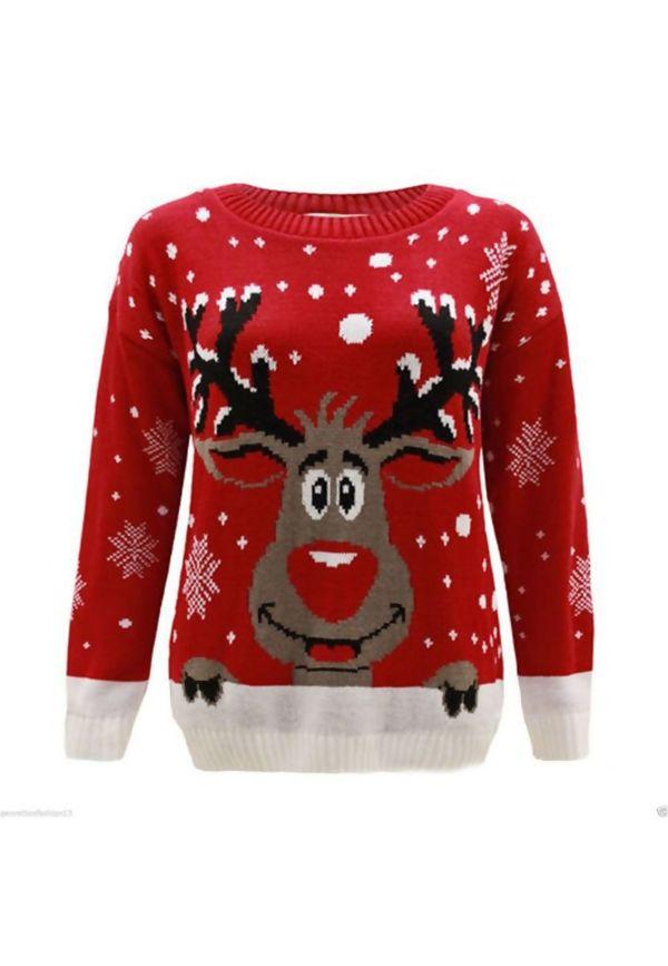 Red Kids X Reindeer Christmas Jumper