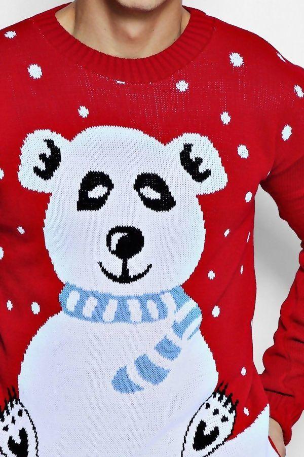 Red Mens Polar Bear Knitted Christmas Jumper