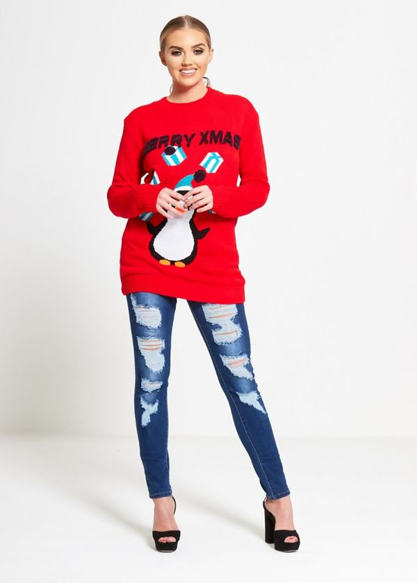 Red Penguin Juggling Christmas Jumper