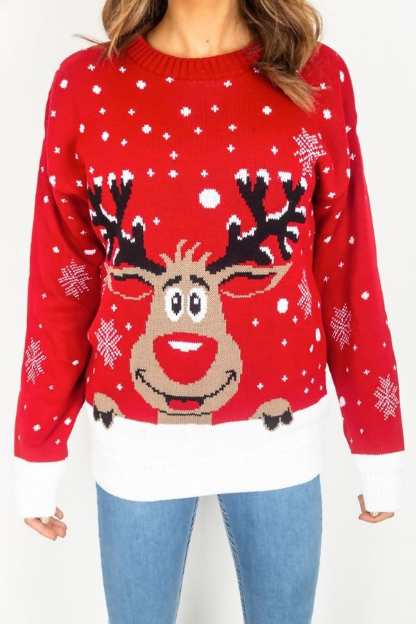 Red Plus Size Reindeer Christmas Jumper