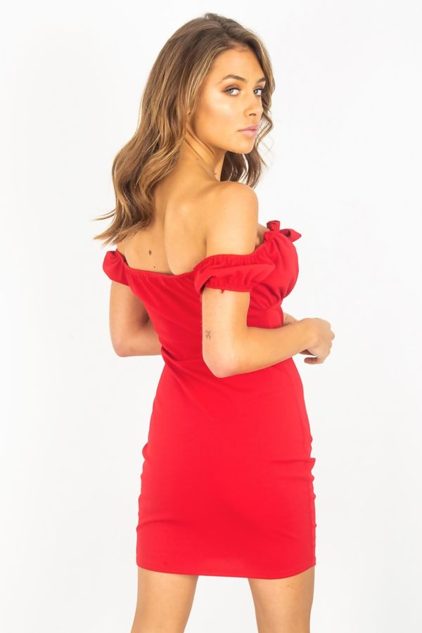 Red Ruched Bust Tie Front Bodycon Dress