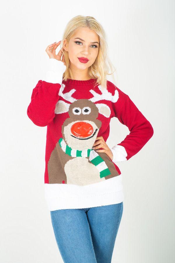 Red Rudolph 3D Light Christmas Jumper