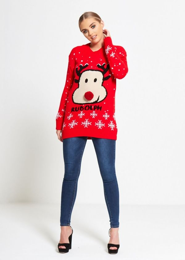 Red Rudolph Snowflake Christmas Knitted Jumper