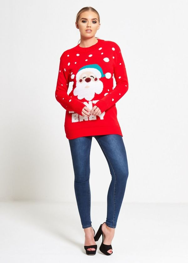 Red Santa Baby Knitted Christmas Jumper