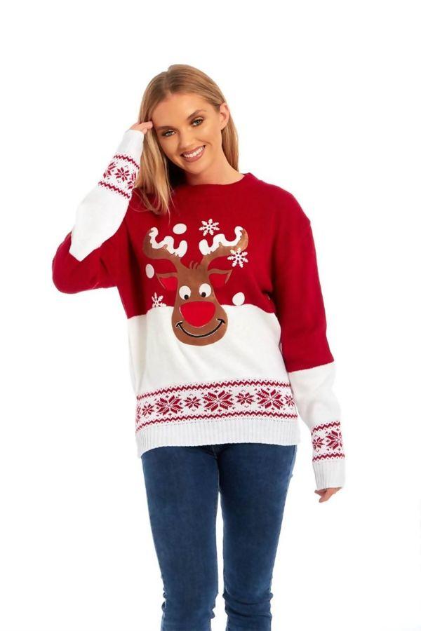 Red Suede Flake Reindeer Christmas Jumper