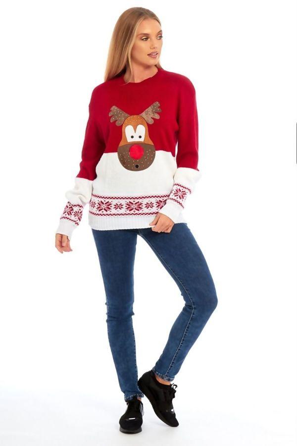 Red Suede Glitter Reindeer Christmas Jumper