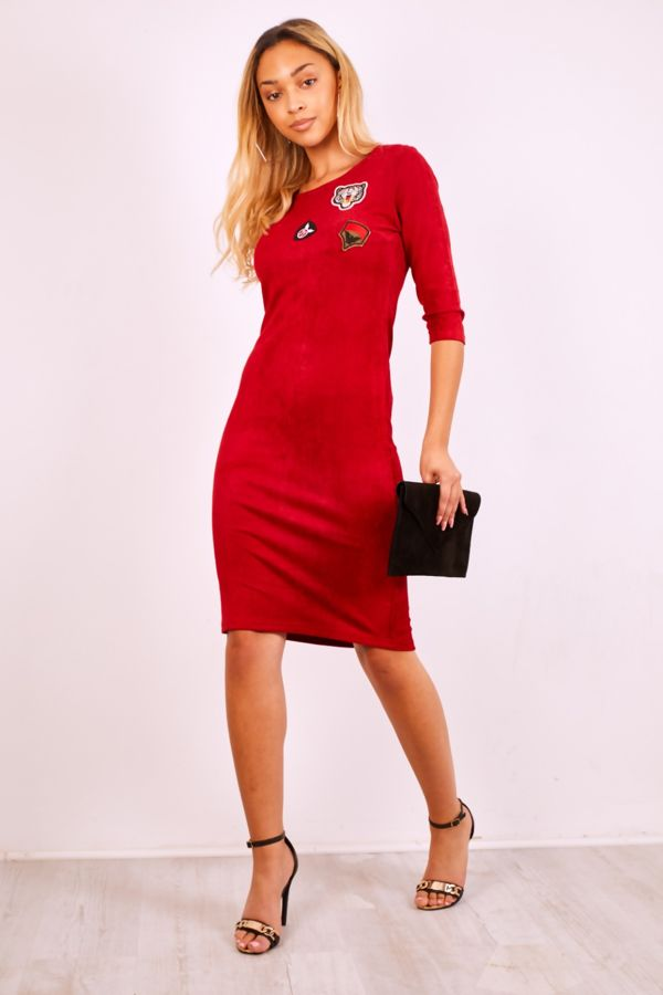 Red Suede Tiger Embroidery Mini Dress