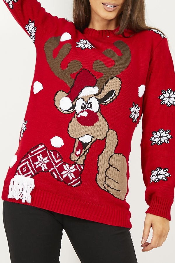 Red Thumbs Up Reindeer Christmas Jumper