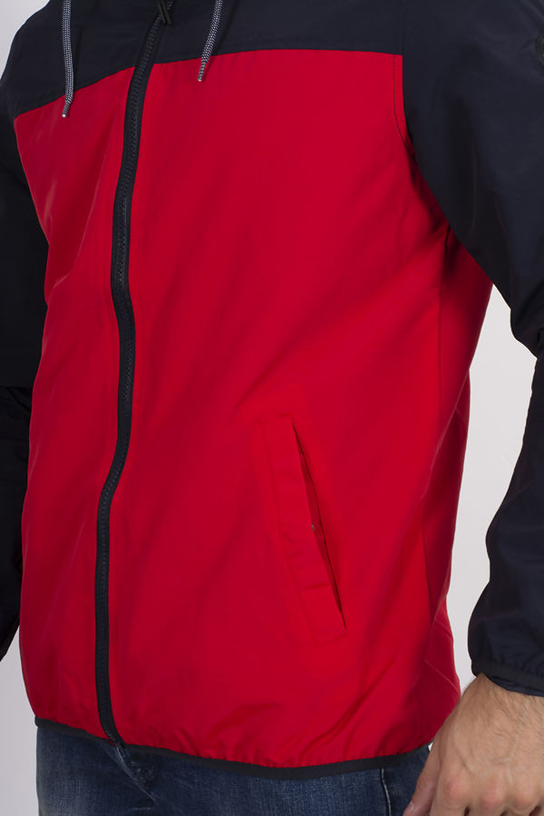 Red With Navy Dingle Colourblock Windrunner Jacket