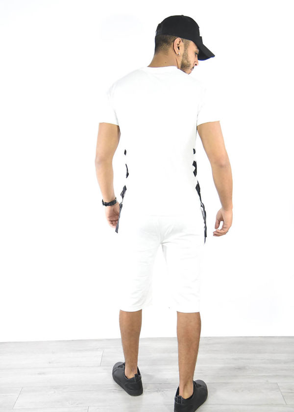 White Ribbed Tee and Shorts Set