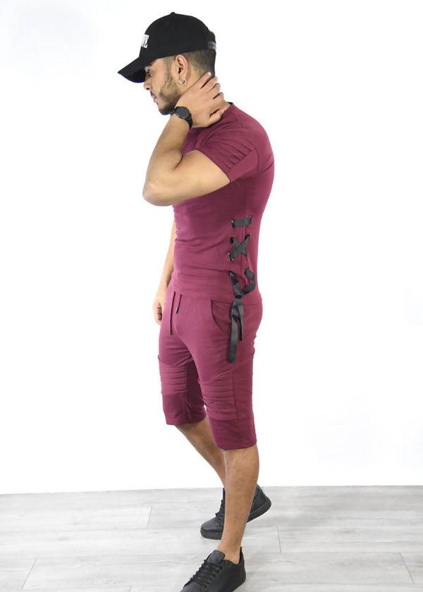 Wine Ribbed Tee and Shorts Set-Copy