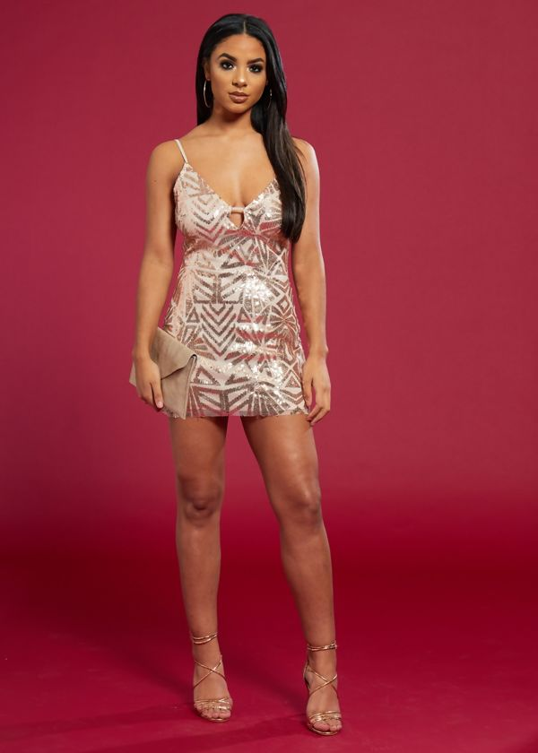 Rose Gold Plunge Cut Out Sequin Mini Prom Dress