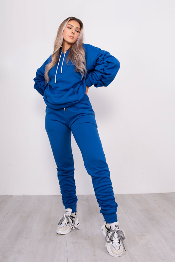 Royal Oversized Ruched Hoodie And Jogger Lounge Set